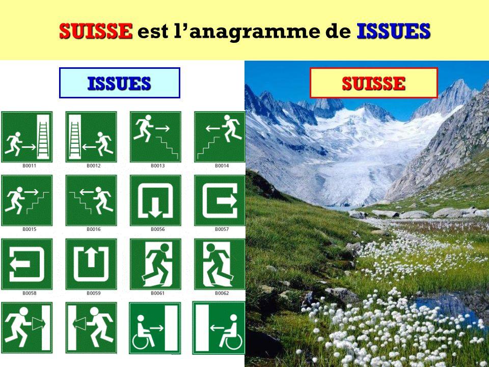 SUISSE est l'anagramme de ISSUES
