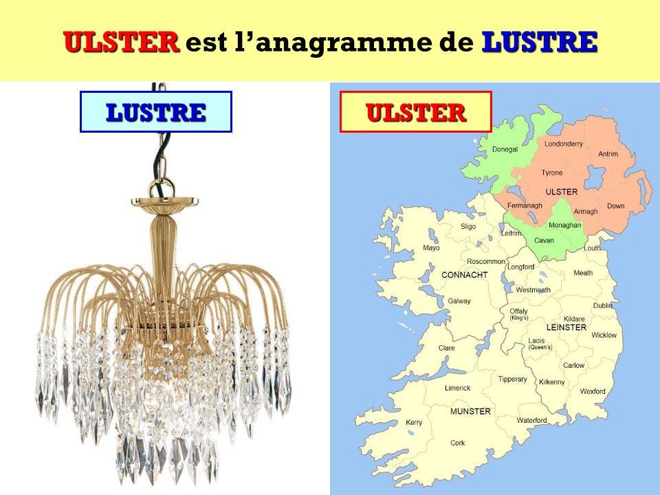 ULSTER est l'anagramme de LUSTRE