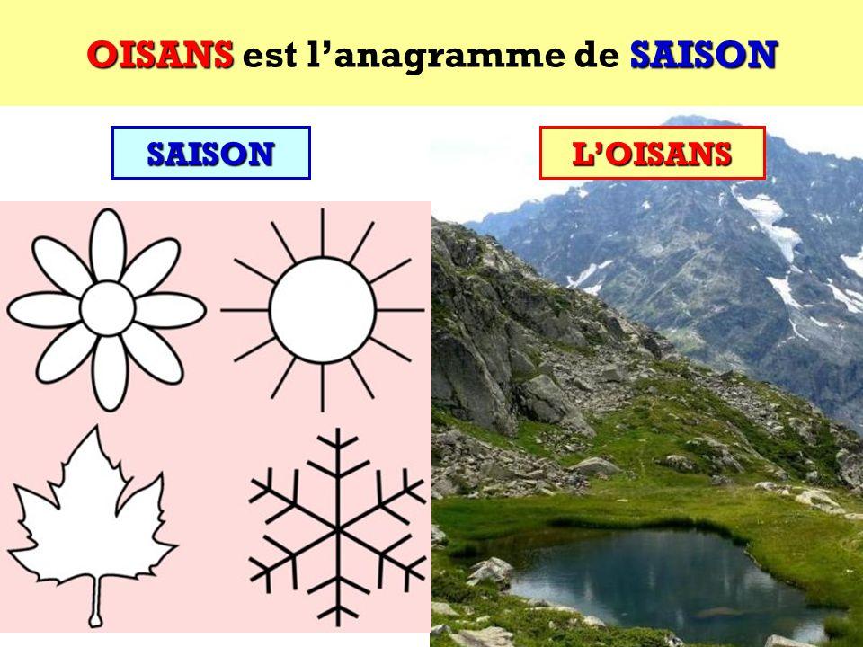 OISANS est l'anagramme de SAISON
