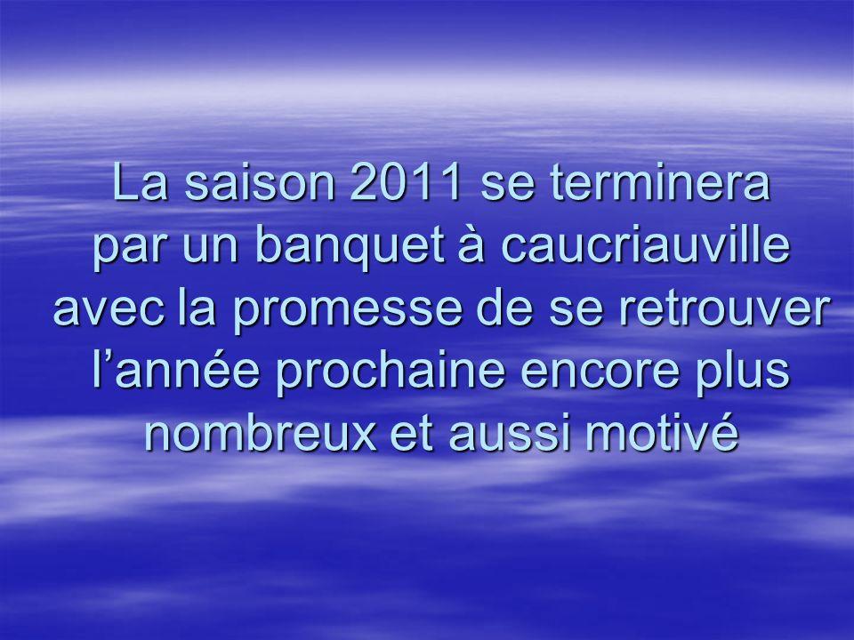 La saison 2011 se terminera par un banquet à caucriauville avec la promesse de se retrouver l'année prochaine encore plus nombreux et aussi motivé