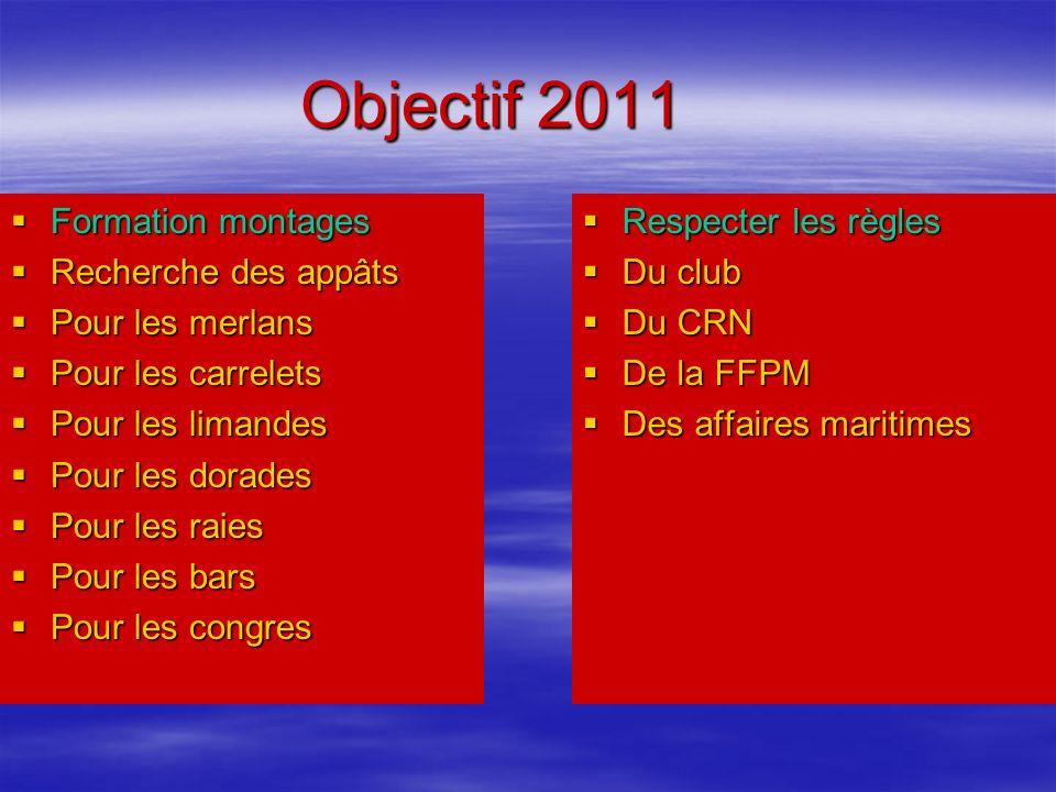 Objectif 2011 Formation montages Recherche des appâts Pour les merlans