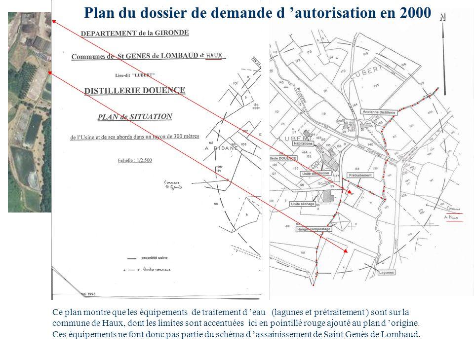 Plan du dossier de demande d 'autorisation en 2000