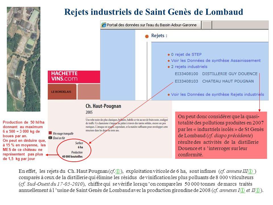 Rejets industriels de Saint Genès de Lombaud