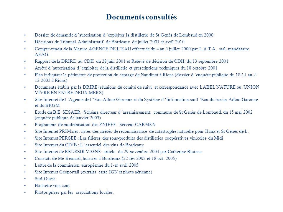 Documents consultés Dossier de demande d 'autorisation d 'exploiter la distillerie de St Genès de Lombaud en 2000.