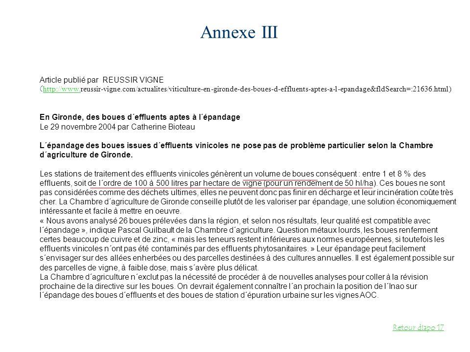 Annexe III Article publié par REUSSIR VIGNE