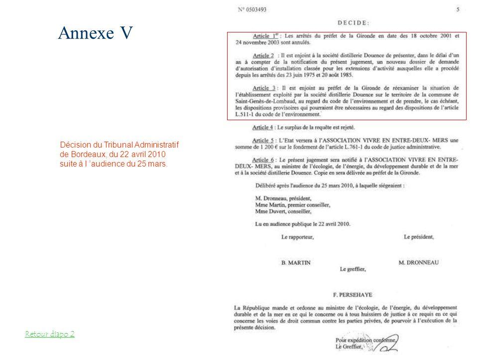 Annexe V Décision du Tribunal Administratif
