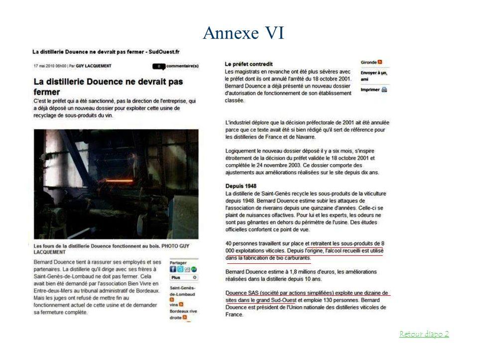 Annexe VI Retour diapo 2