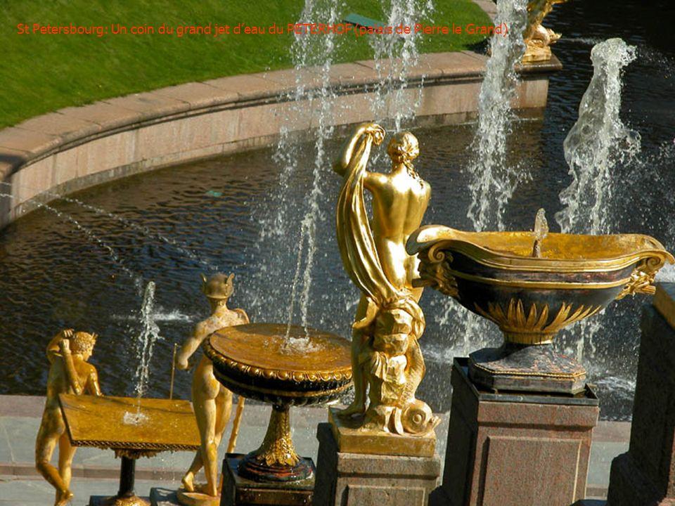 St Petersbourg: Un coin du grand jet d'eau du PETERHOF (palais de Pierre le Grand)