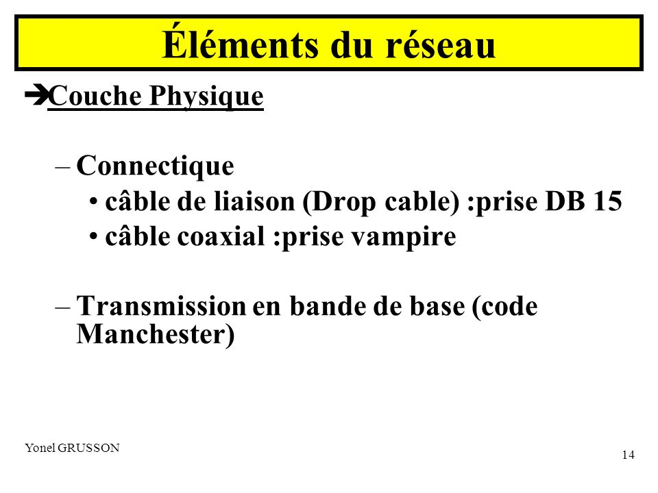 Éléments du réseau Couche Physique Connectique