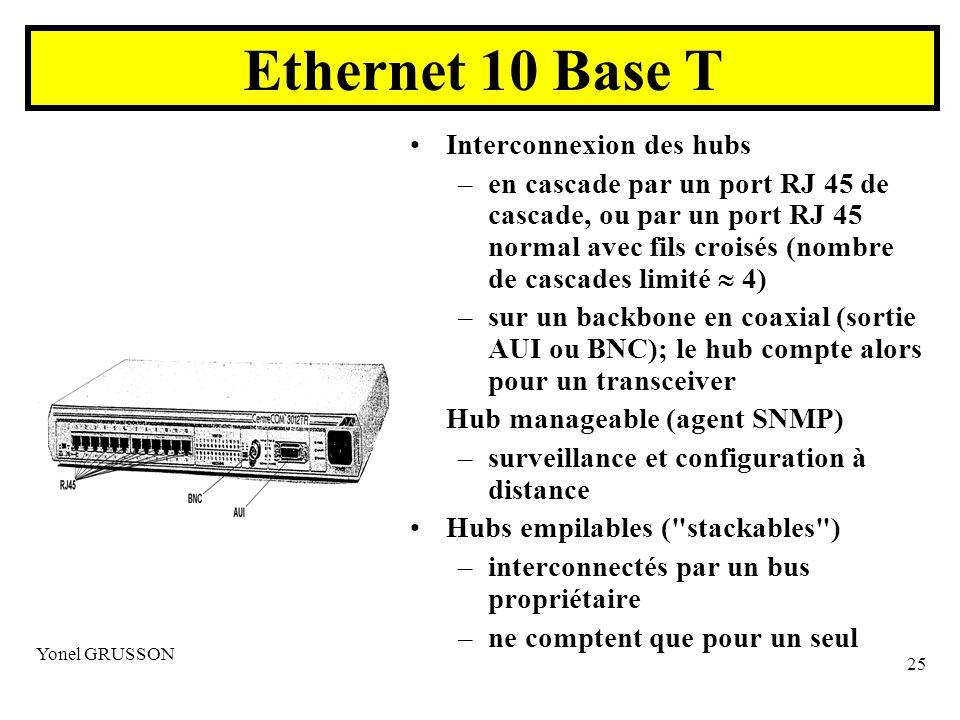 Ethernet 10 Base T Interconnexion des hubs