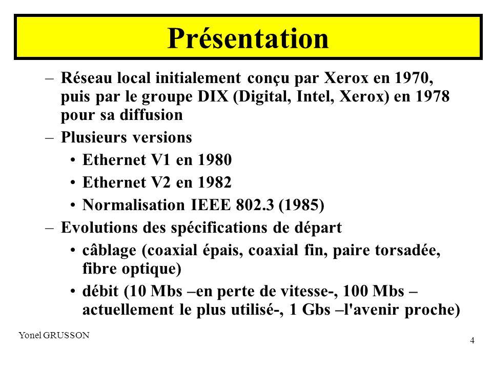Présentation Réseau local initialement conçu par Xerox en 1970, puis par le groupe DIX (Digital, Intel, Xerox) en 1978 pour sa diffusion.