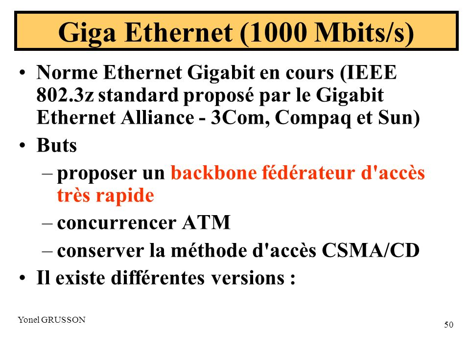 Giga Ethernet (1000 Mbits/s)