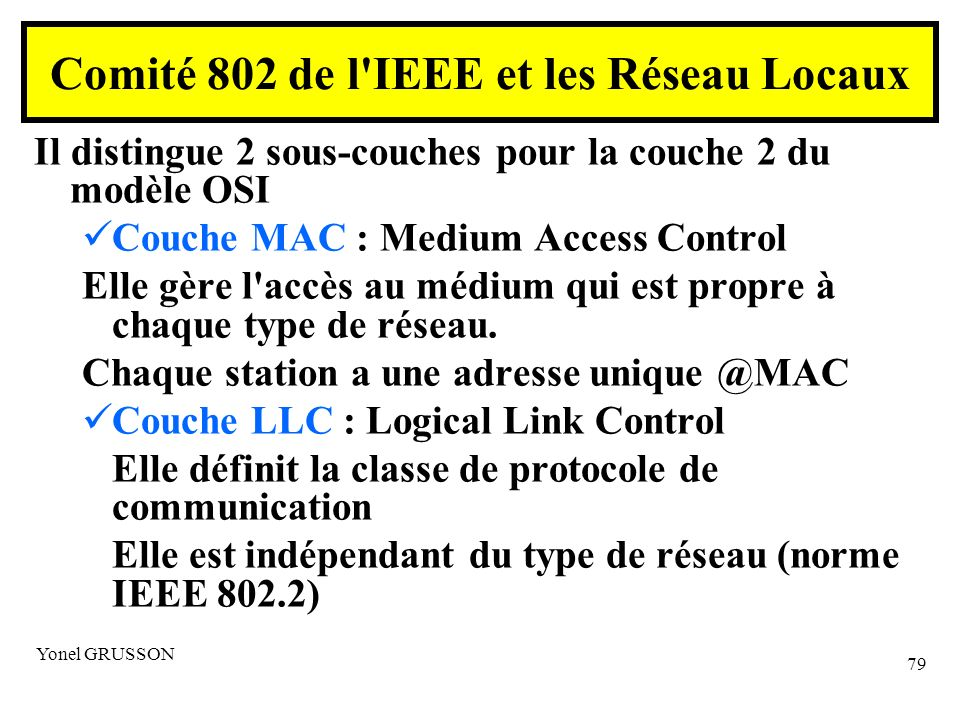 Comité 802 de l IEEE et les Réseau Locaux