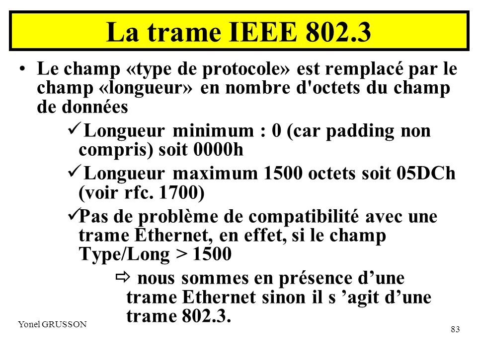 La trame IEEE 802.3 Le champ «type de protocole» est remplacé par le champ «longueur» en nombre d octets du champ de données.
