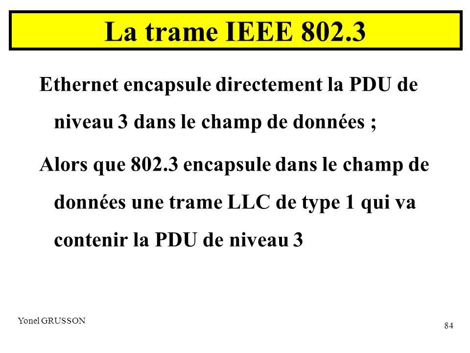 La trame IEEE 802.3 Ethernet encapsule directement la PDU de niveau 3 dans le champ de données ;