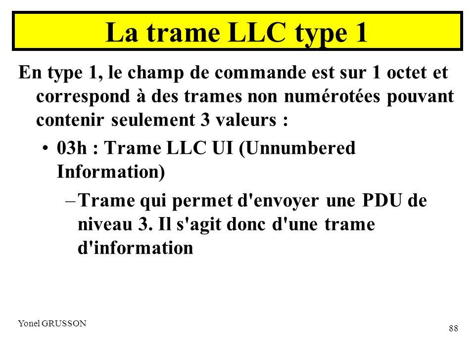 La trame LLC type 1 En type 1, le champ de commande est sur 1 octet et correspond à des trames non numérotées pouvant contenir seulement 3 valeurs :