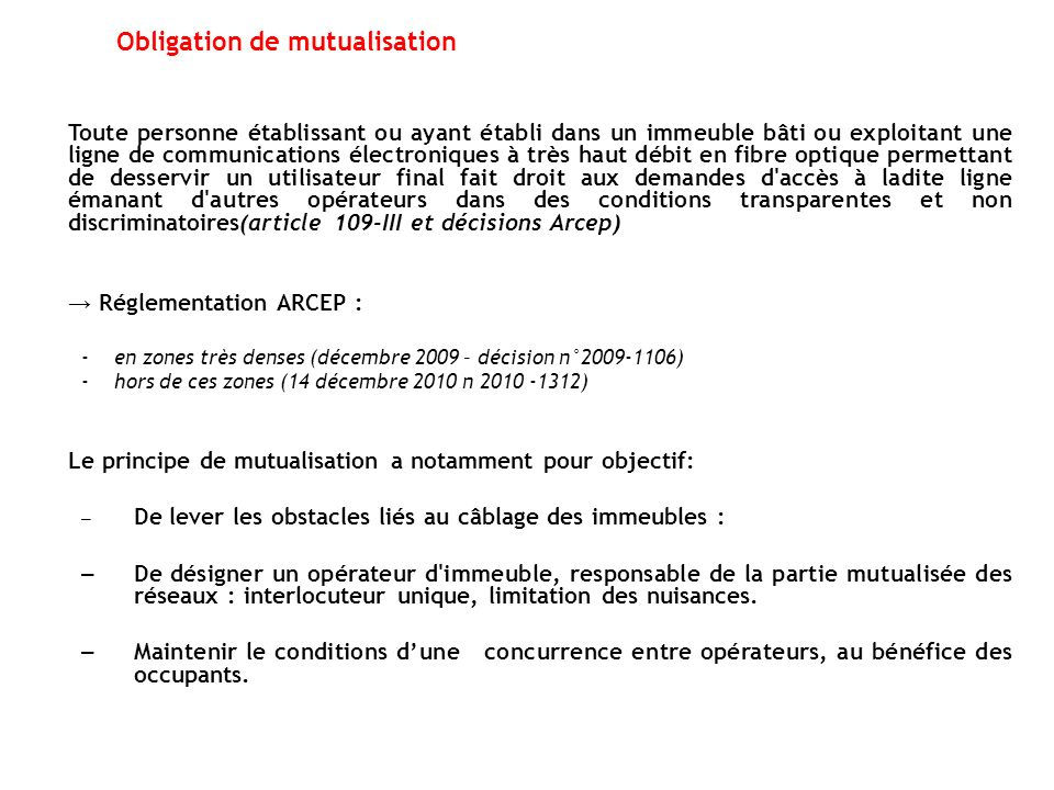 Obligation de mutualisation
