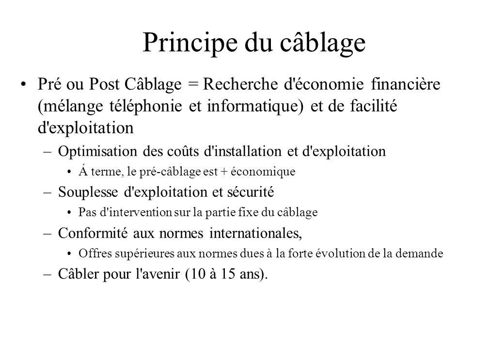 Principe du câblage Pré ou Post Câblage = Recherche d économie financière (mélange téléphonie et informatique) et de facilité d exploitation.