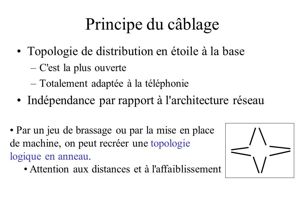 Principe du câblage Topologie de distribution en étoile à la base
