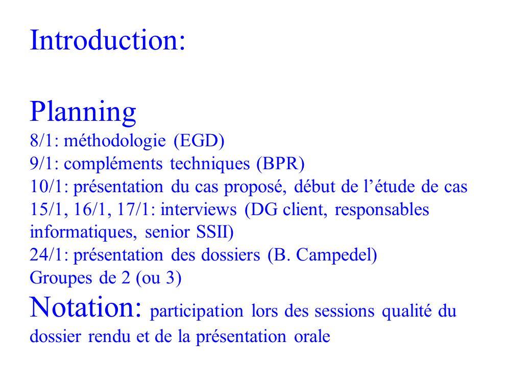 Introduction: Planning 8/1: méthodologie (EGD) 9/1: compléments techniques (BPR) 10/1: présentation du cas proposé, début de l'étude de cas 15/1, 16/1, 17/1: interviews (DG client, responsables informatiques, senior SSII) 24/1: présentation des dossiers (B.