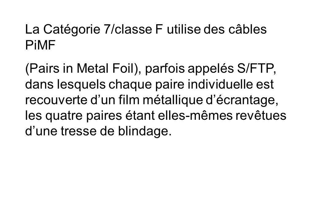 La Catégorie 7/classe F utilise des câbles PiMF