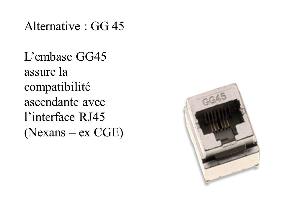 Alternative : GG 45 L'embase GG45 assure la compatibilité ascendante avec l'interface RJ45.