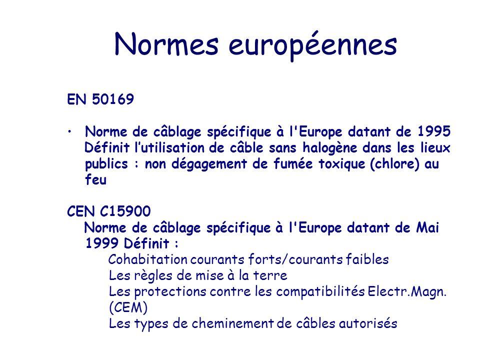 Normes européennes EN 50169. Norme de câblage spécifique à l Europe datant de 1995.