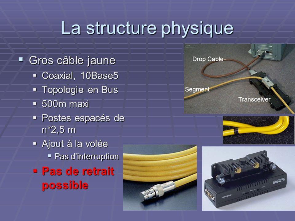La structure physique Gros câble jaune Pas de retrait possible