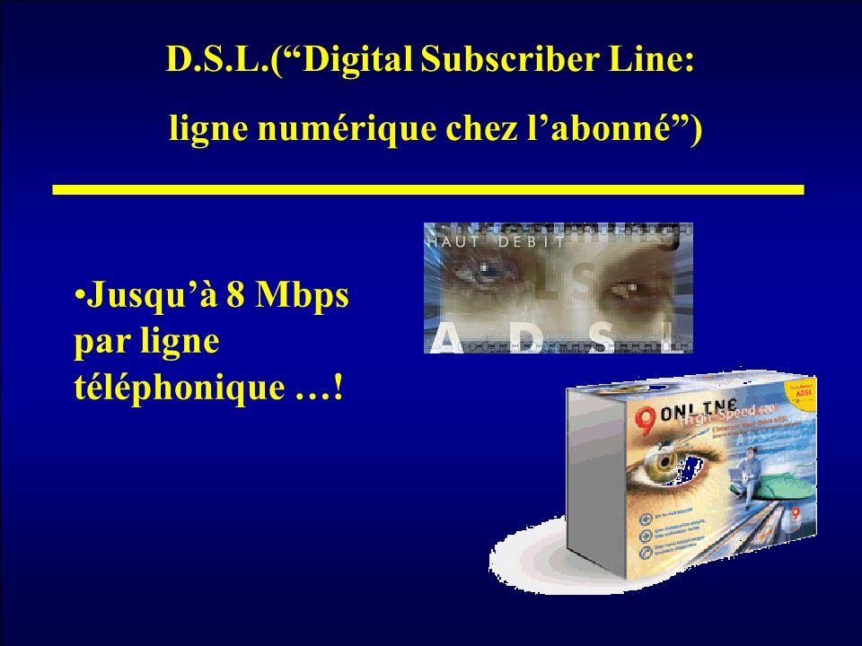 D.S.L.( Digital Subscriber Line: ligne numérique chez l'abonné )