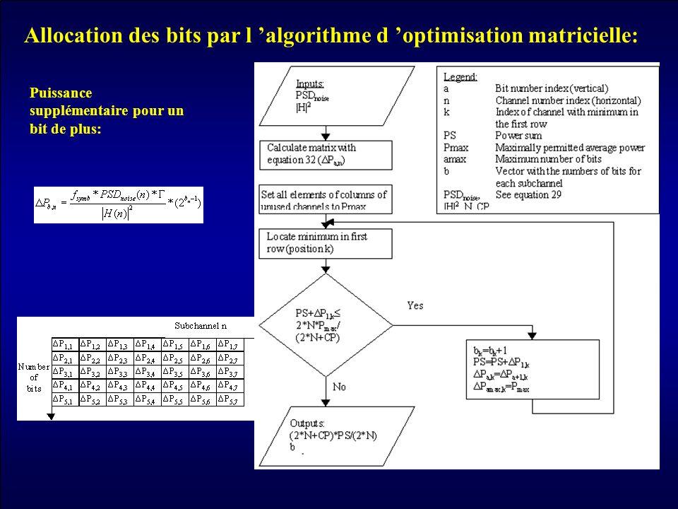 Allocation des bits par l 'algorithme d 'optimisation matricielle: