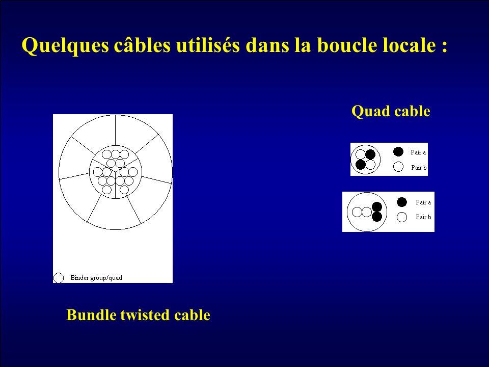 Quelques câbles utilisés dans la boucle locale :