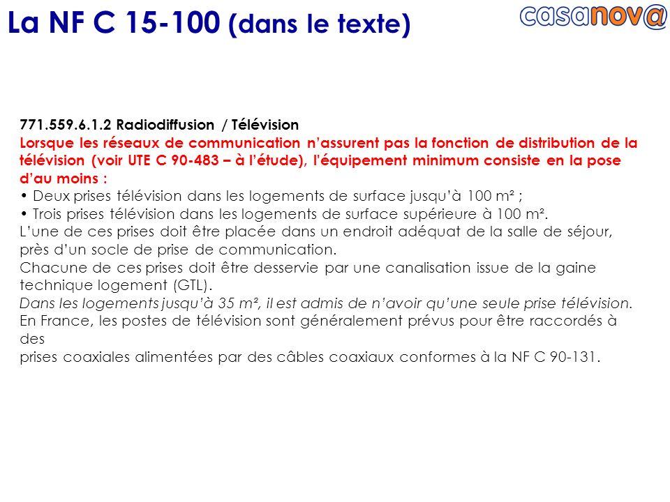 La NF C 15-100 (dans le texte) 771.559.6.1.2 Radiodiffusion / Télévision.