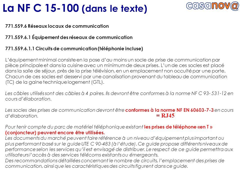 La NF C 15-100 (dans le texte) = RJ45