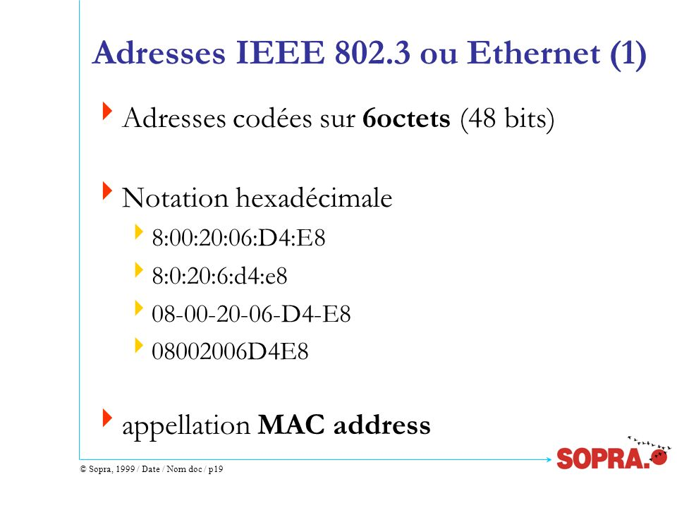 Adresses IEEE 802.3 ou Ethernet (1)