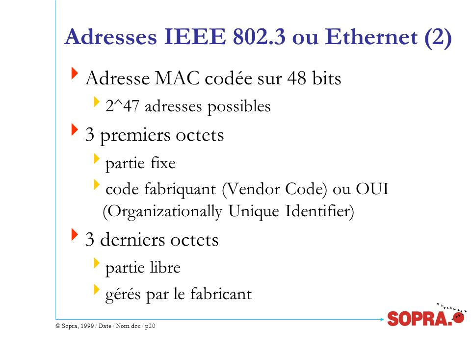 Adresses IEEE 802.3 ou Ethernet (2)
