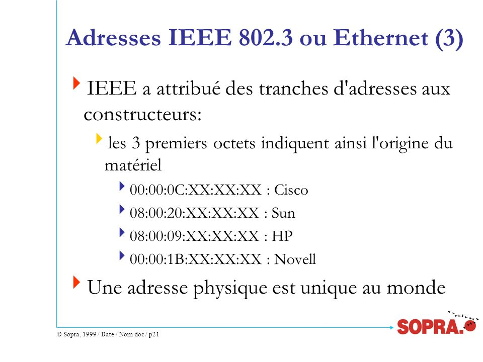Adresses IEEE 802.3 ou Ethernet (3)