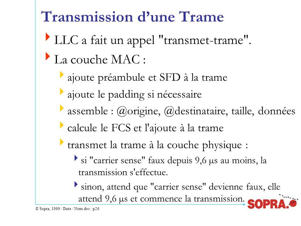 Transmission d'une Trame