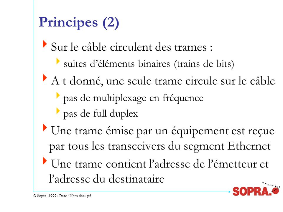 Principes (2) Sur le câble circulent des trames :