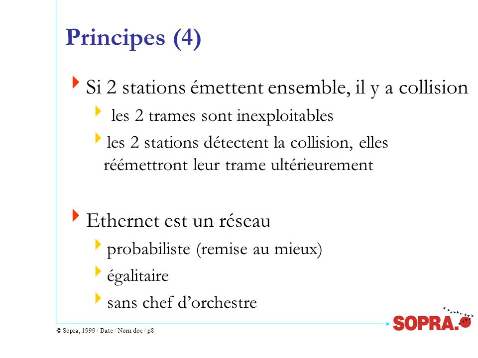 Principes (4) Si 2 stations émettent ensemble, il y a collision