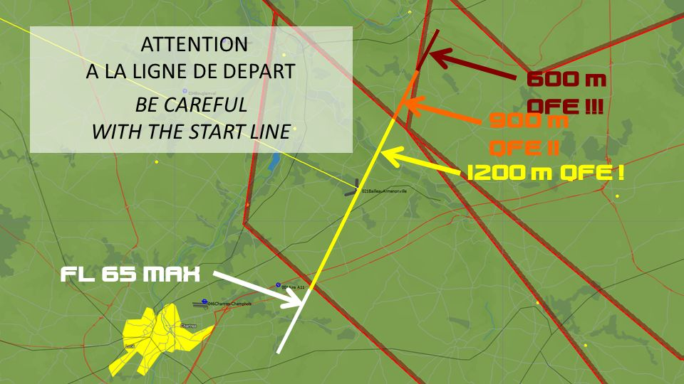 ATTENTION A LA LIGNE DE DEPART. BE CAREFUL. WITH THE START LINE. 600 m QFE !!! 900 m QFE !! 1200 m QFE !