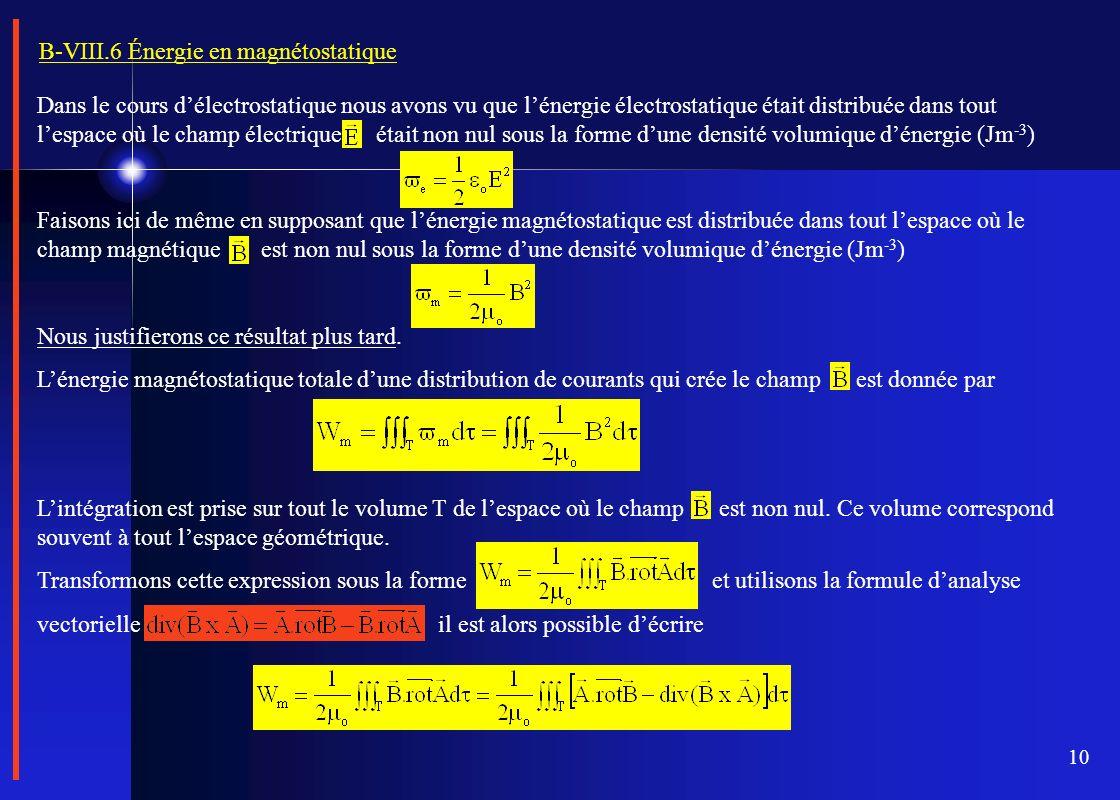 B-VIII.6 Énergie en magnétostatique