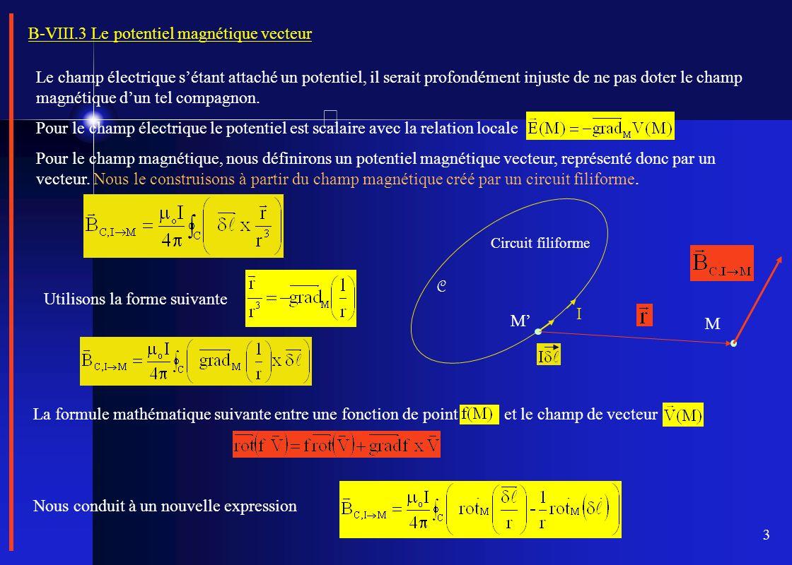 B-VIII.3 Le potentiel magnétique vecteur