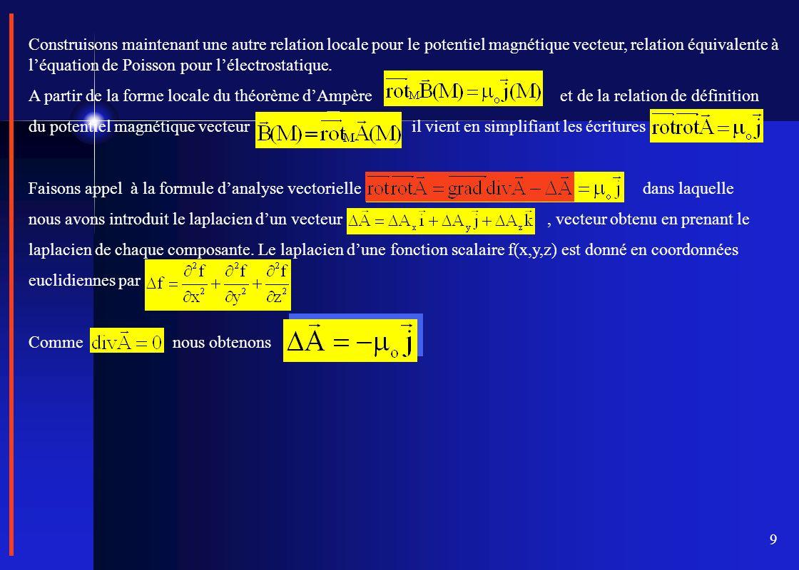 Construisons maintenant une autre relation locale pour le potentiel magnétique vecteur, relation équivalente à l'équation de Poisson pour l'électrostatique.