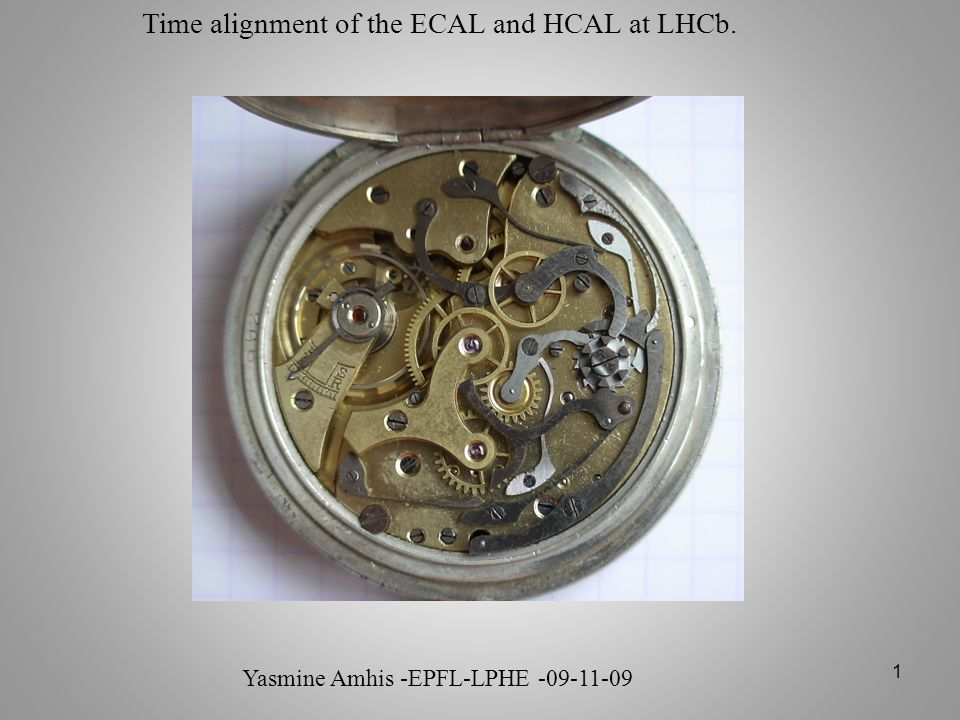 Time alignment of the ECAL and HCAL at LHCb.