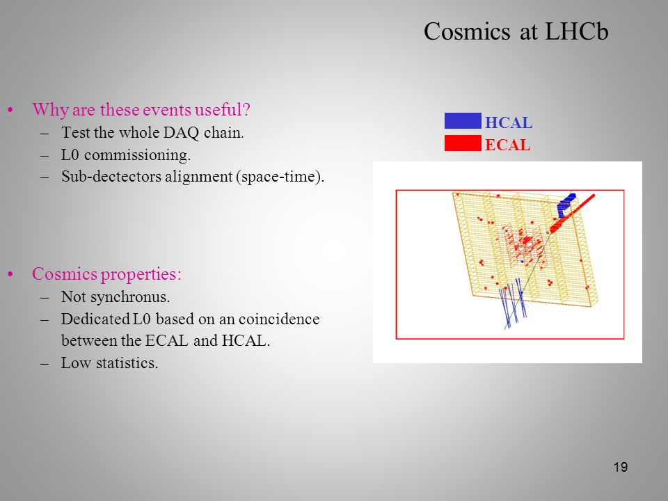Cosmics at LHCb Why are these events useful Cosmics properties:
