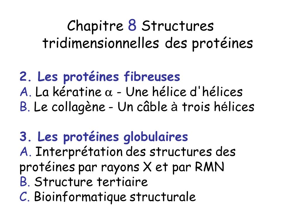 Chapitre 8 Structures tridimensionnelles des protéines