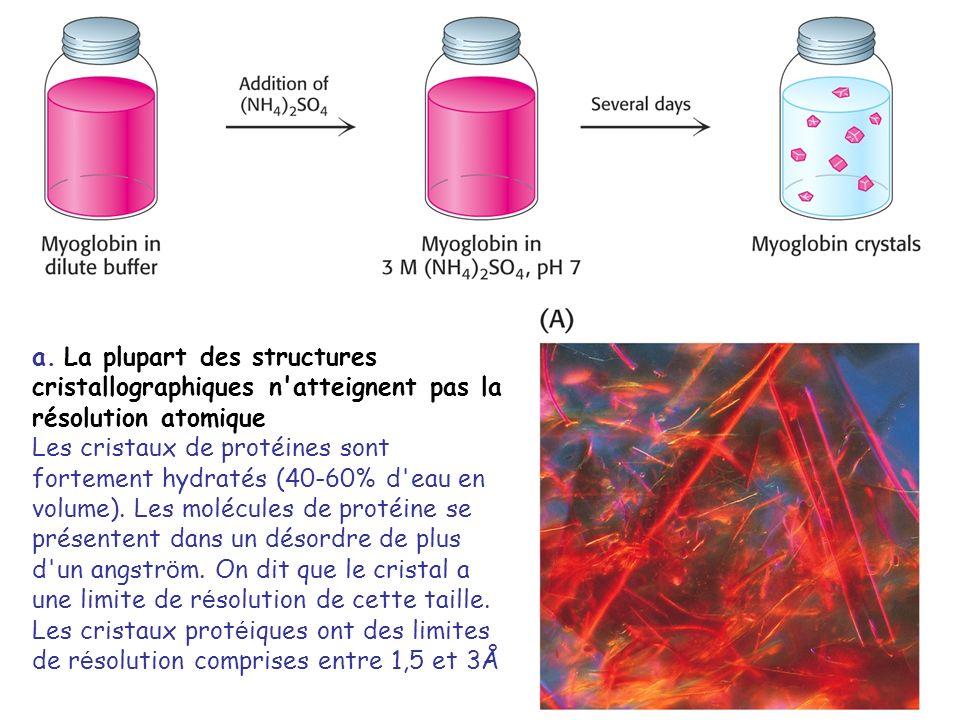 a. La plupart des structures cristallographiques n atteignent pas la résolution atomique