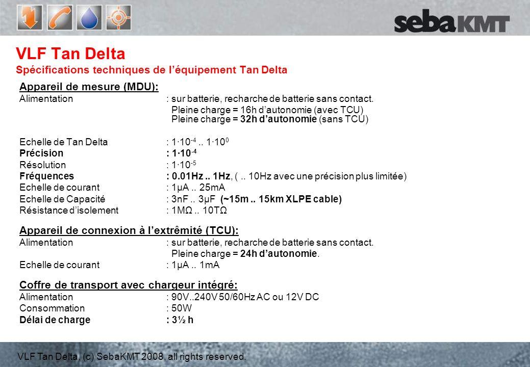 VLF Tan Delta Spécifications techniques de l'équipement Tan Delta