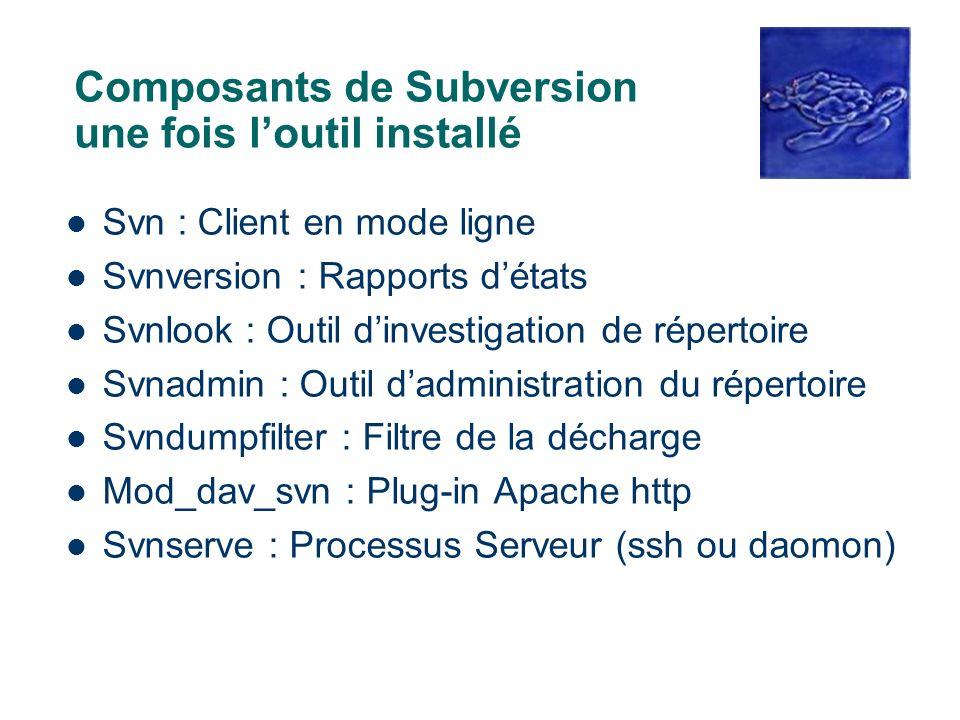 Composants de Subversion une fois l'outil installé