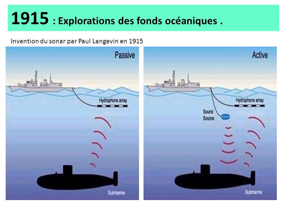 1915 : Explorations des fonds océaniques .